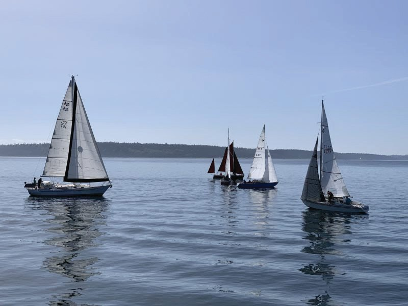 Dead calm winds hampered the May 15 Protection Island Race.