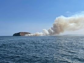 Smoke billows from Protection Island Tuesday.