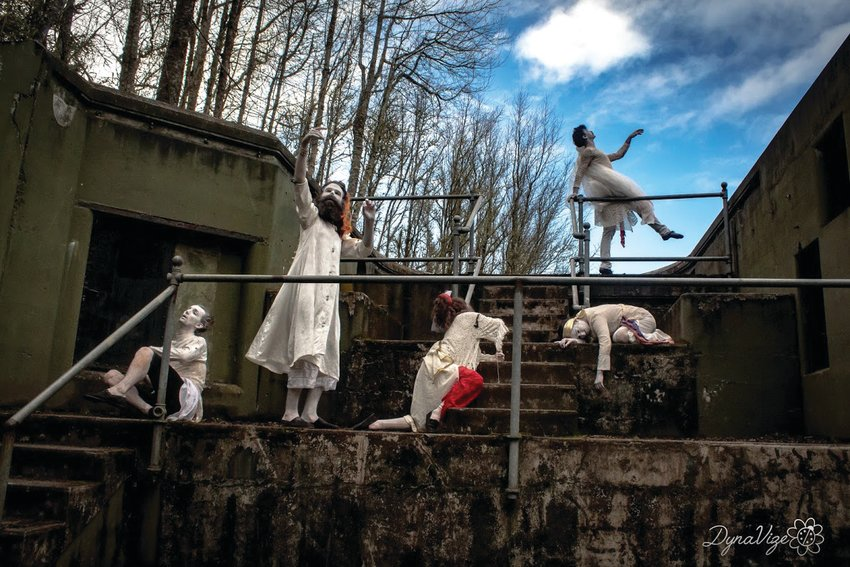 Butoh dancers utilize their environments as part of their performance.
