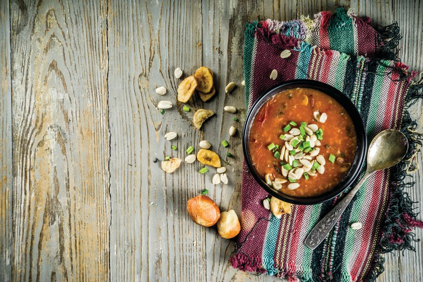 Sweet Potato and Cashew Camp Stew is an African-inspired dish that's easy to make and delicious, as well.
