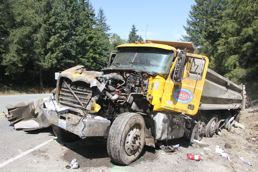 Eyewitnesses to the crash noted that the dump-truck driver was able to walk to a gurney before being airlifted from the crash scene on Highway 104.