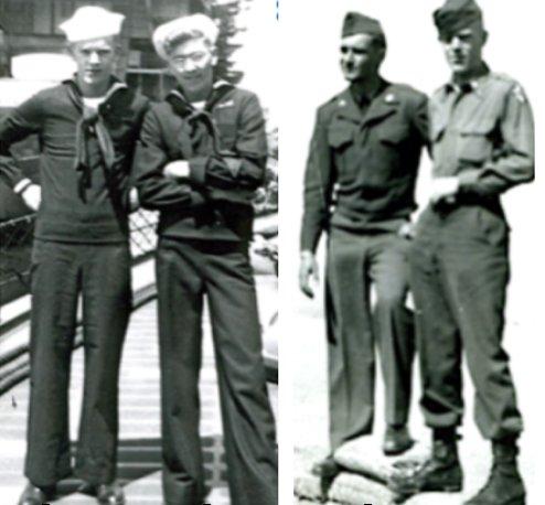 "Able Seaman Tom Camfield (left above) and shipmate ""Fish"" Finnell, destroyer USS John A Bole, DD 755 Ketchikan, Alaska, July 1947; Pvt. Tom Camfield (right, above) and fellow soldier Jack Johnston, Camp Mandell, Calif., (near Golden Gate Bridge and Presidio of San Francisco), Jan. 1951."
