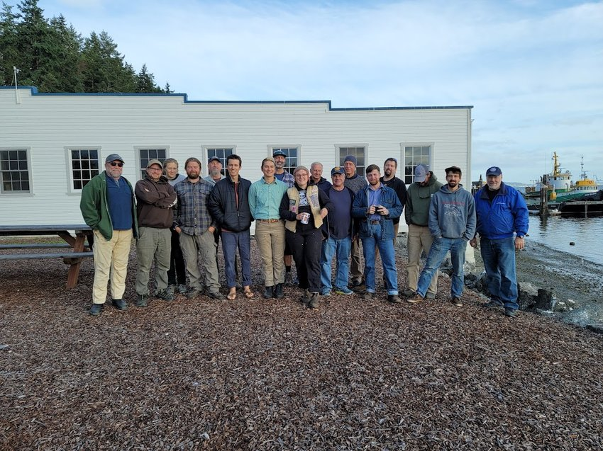 The Marine Systems graduating class of September 2021 on the Port Hadlock campus of the Northwest School of Wooden Boatbuilding.