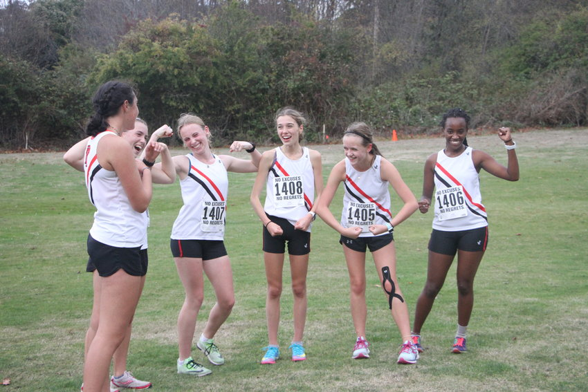 Members of the Rivals girls team Ava Vaughan-Mifsud, Lia Poore, Camryn Hines, Aliyah Yearian, Sylvia Butterfield, and Tadu Dollarhide give a strong pose after dominating in the girls event.