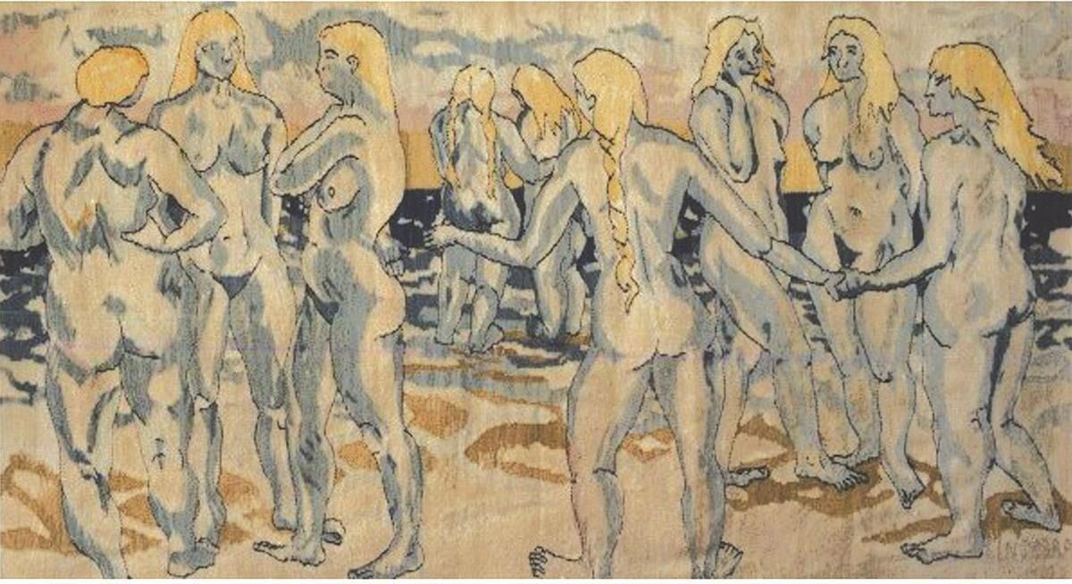 "Heimdal's Nine Mothers,tapestry, wool on cotton, 56"" x 92"", 1986. In Norse Mythology, Heimdal was the watchman of the gods and guarded Bifrost, the rainbow bridge to heaven. He was born where the land meets the sea, by nine mothers who were all giants, sisters, and virgins, and together personify the waves."