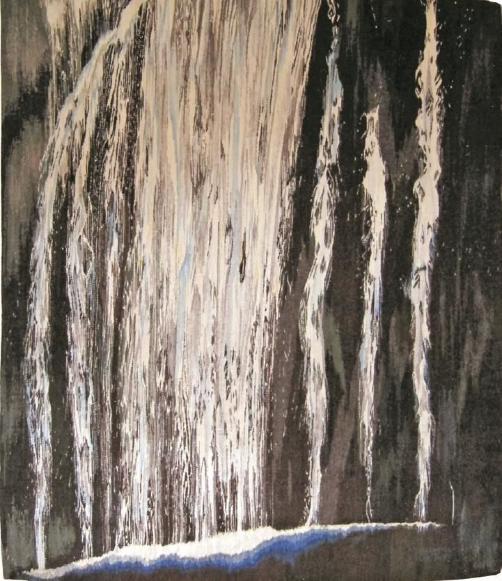"Energy,tapestry, wool on cotton, 72"" x 61"", 2002. Inspired by Marymere Falls in Olympic National Park in Washington."