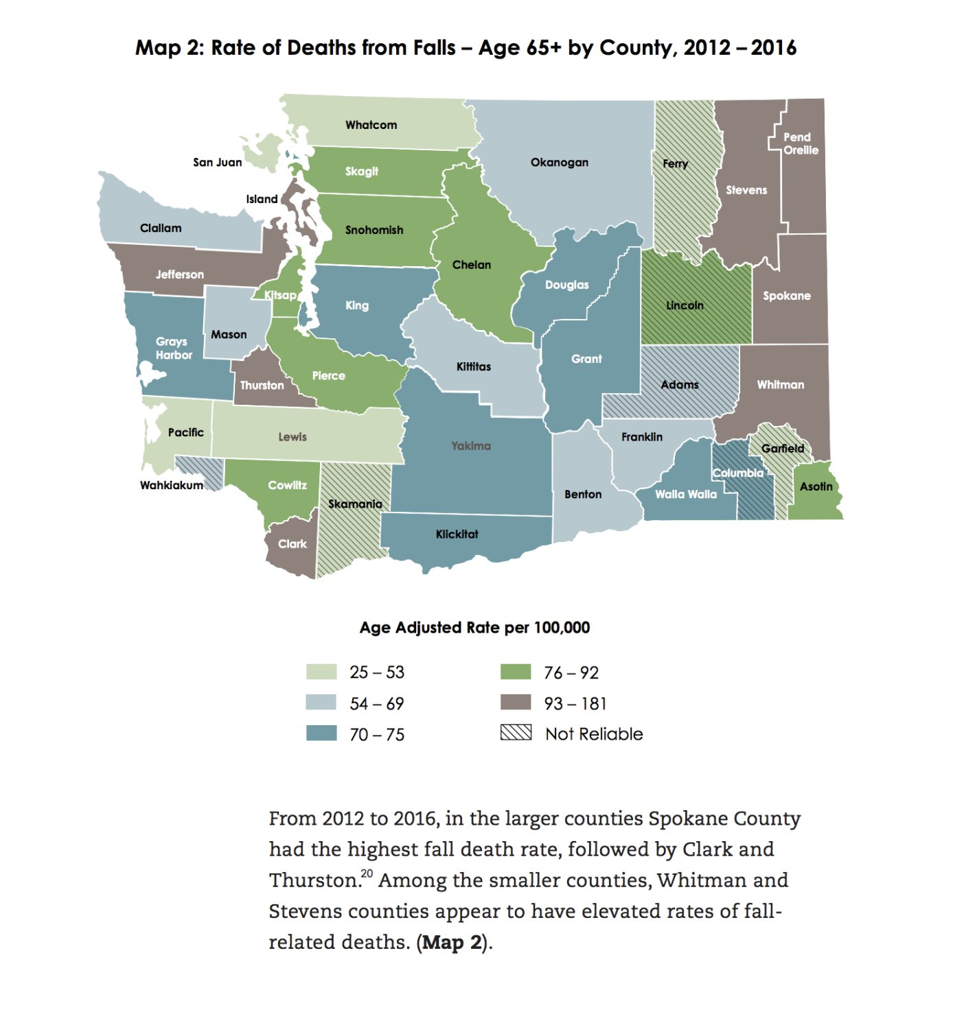 From 2012 to 2016, in the larger counties, Spone County had the highest fall death rate, followed by Clark and Thurston. Among the smaller counties, Whitman and Stevens counties appear to have elevated rates of fall-related deaths. Courtesy photo
