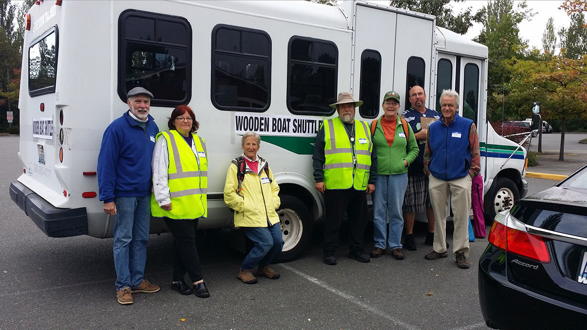 the morning shift of volunteers for the Sunday 'shuttle' to Wooden Boat 2015