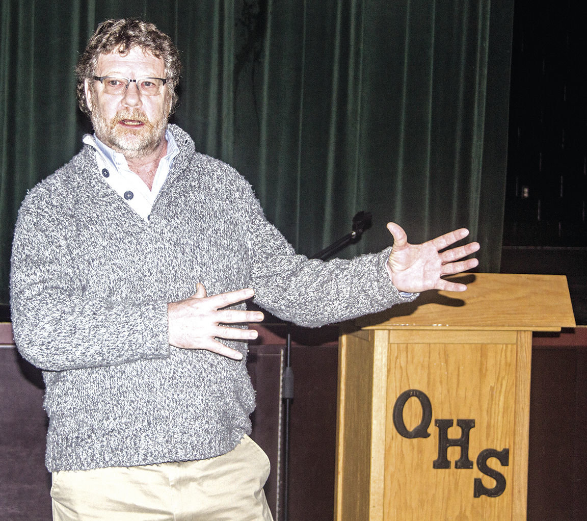 Rich Parker, executive search consultant for McPherson & Jacobson, addresses Quilcene School District staff, parents and community members Jan. 31. Photo by Kirk Boxleitner