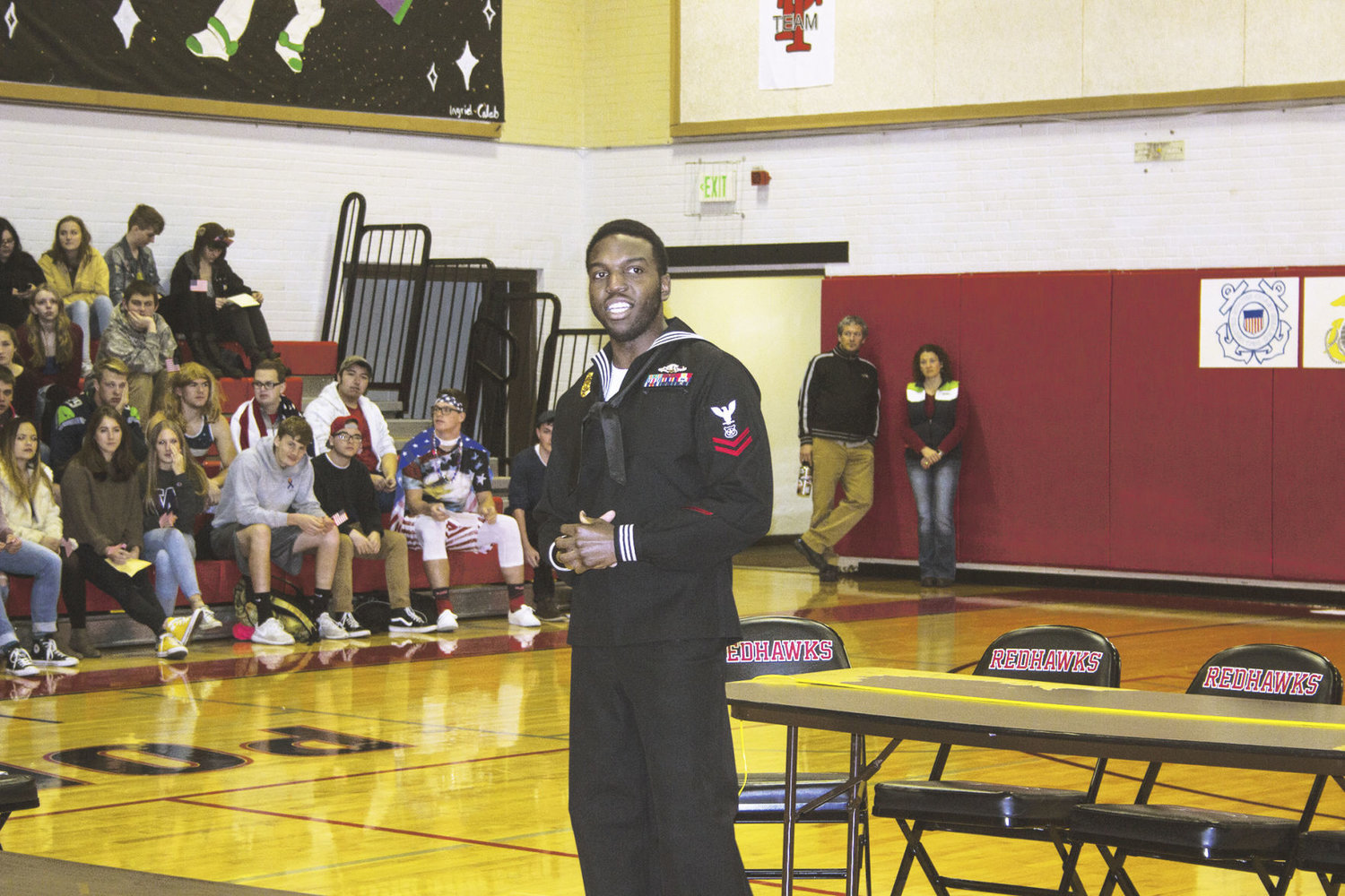 Master-at-Arms 2nd Class Aaron Joseph on Nov. 9 tells Port Townsend High School students his reasons for enlisting and remaining in the military service. Photo by Kirk Boxleitner