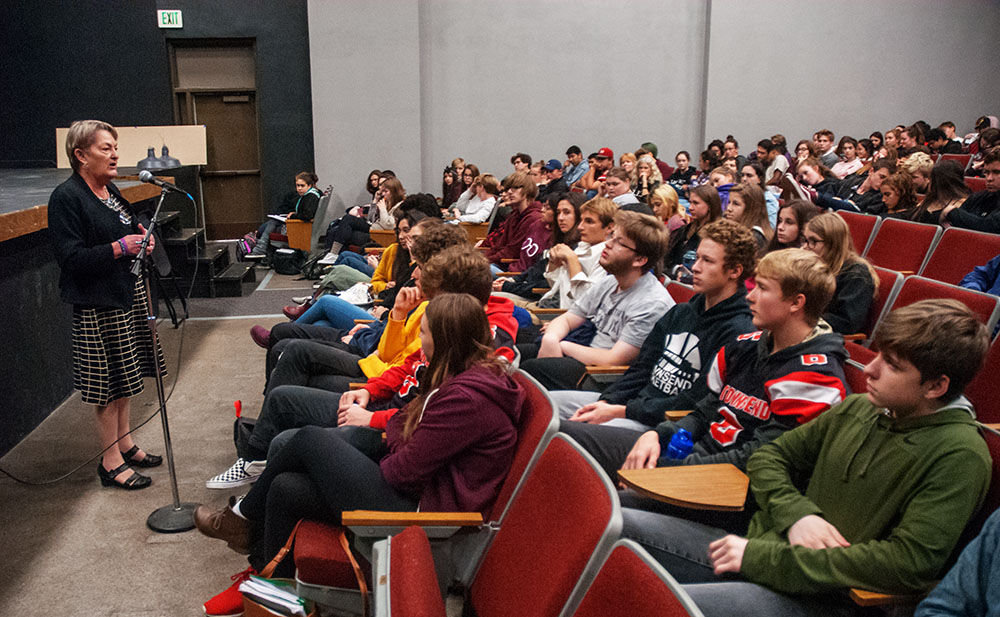 "Washington State Supreme Court Justice Susan Owens speaks with Port Townsend High School students during the ""Friday salon"" at the school auditorium Oct. 27. She spoke about her work on the state Supreme Court and took questions from the students. Photos by Chris Tucker"