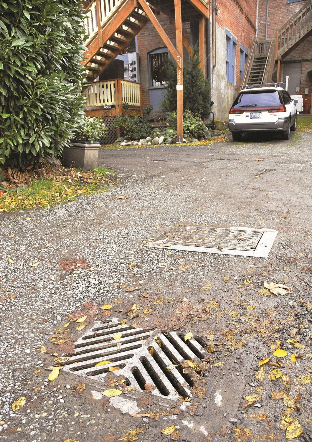 This drain located in a parking lot behind the eisenbeis building in port townsend