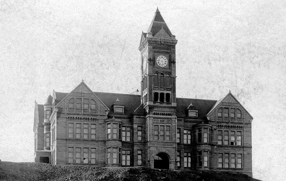 Lincoln School in 1898 with original clock tower. Old photos from the registration form for Lincoln School for the National Register of Historic Places