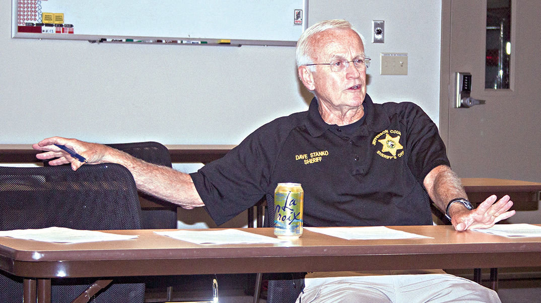 Sheriff Dave Stanko discusses a petition for more patrol deputies with his Citizen Advisory Committee Sept. 7. Photo by Kirk Boxleitner