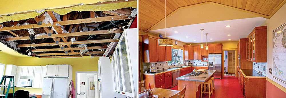 A broken water pipe damaged the kitchen of Pat and Paul Aniotzbehere in 2010 (left). In 2011, the Aniotzbeheres remodeled their kitchen and turned their kitchen nightmare into a kitchen showcase (right). Photos courtesy Mitchel Osborne Photography