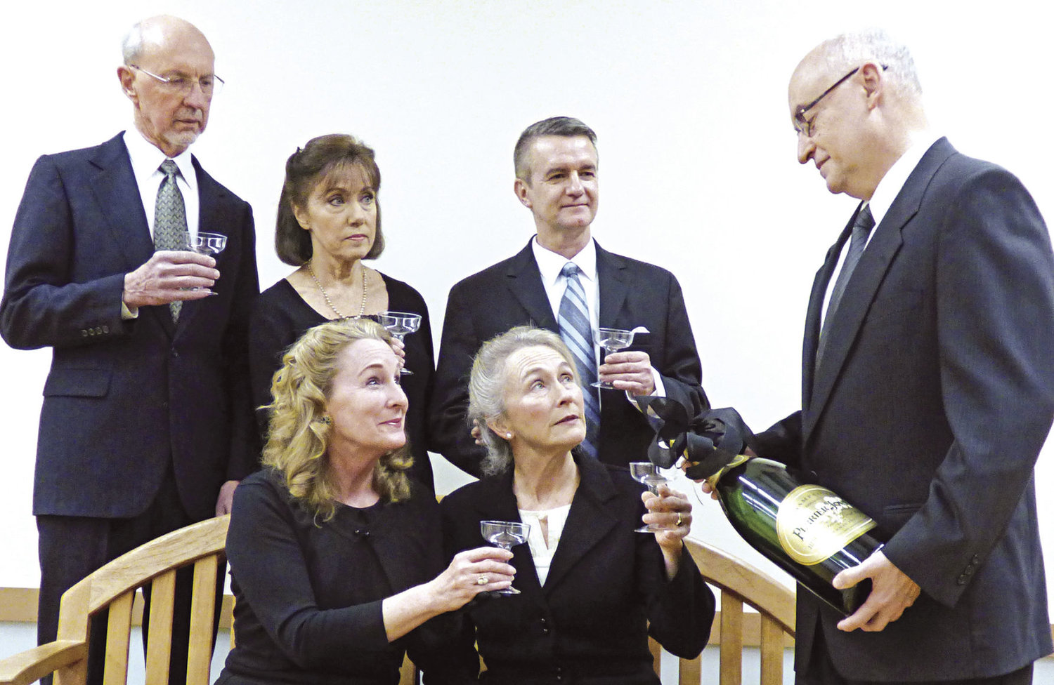 "Ludlow Village Players present ""Nude with Violin,"" a satirical play about the art world in Paris, April 6-9 at The Bay Club. Pictured are (standing, from left) Jim Gormley, Nicole Frenzi, Gary Baird, Mike Derrenberger, (seated, from left) Janet Christensen and Beth Ely. Courtesy photo"