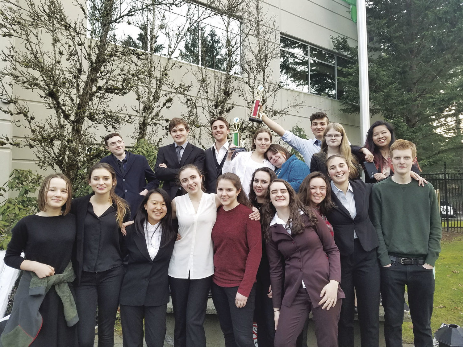 Two Port Townsend High School Mock Trial squads have qualified for the mock trial state championship. Pictured are (back row, from left) Ian Coates, Gannon Short, Brennan LaBrie, Moon Dean, Jennifer DeLong, Sam Jasper, Helena Stafford, An Nguyen, (front row) Emillia Nunn, Mikayla Hemsley, Sarah Lee, Corinne Pierson, Megan Jennings, Sophie Benskin, Lily Montgomery, Hannah Bahls, Maria Morrison and Joe Calodich. Courtesy photo