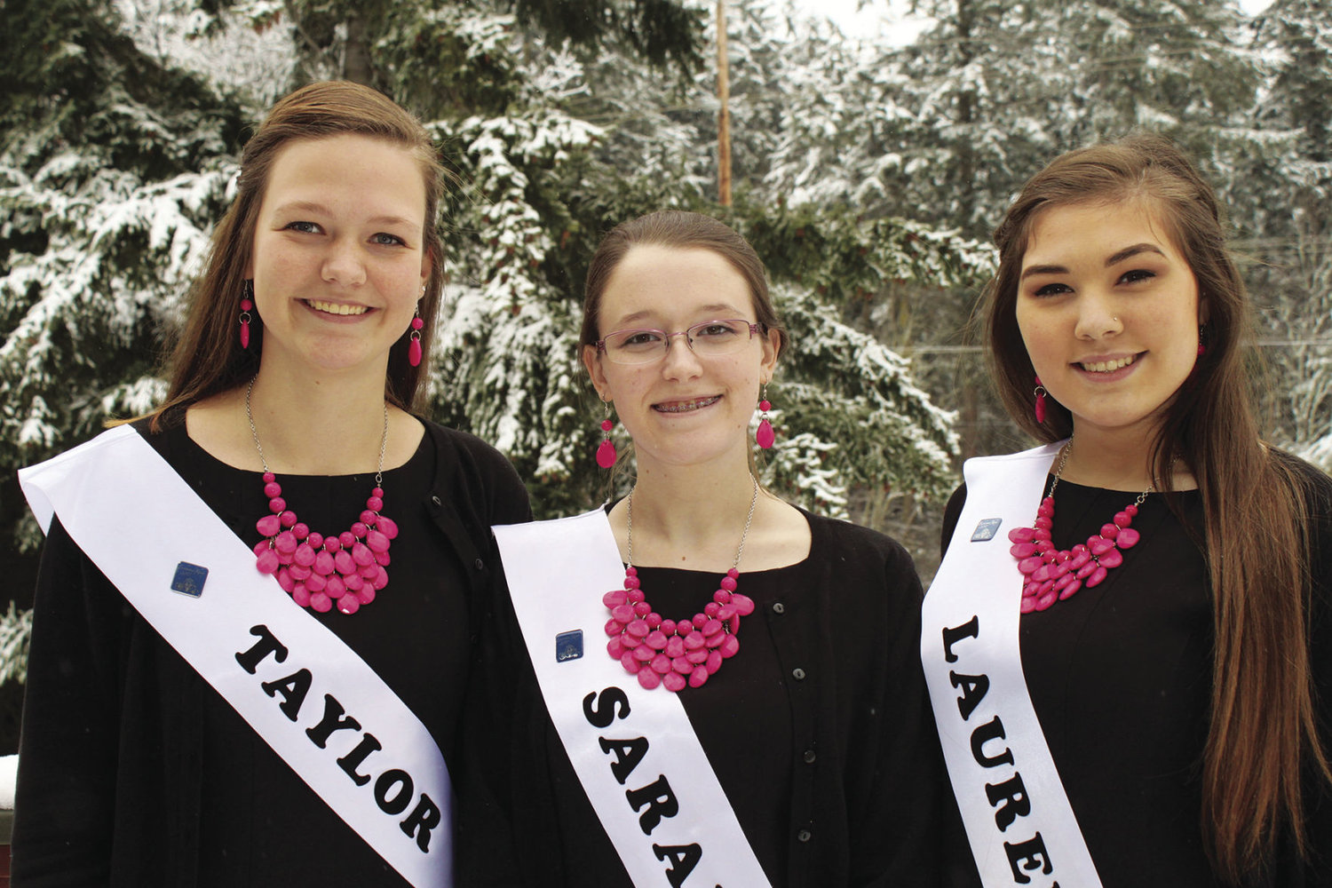 One of these three high school students – Taylor Tracer (left), Sara Smith and Lauren Montgomery – becomes queen of the 82nd Rhododendron Festival during the coronation ceremony Saturday, March 4. Courtesy photo by Brandi Hamon