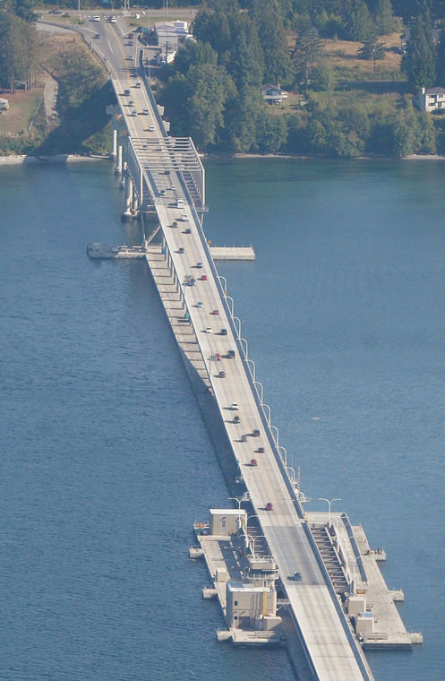 The Hood Canal Bridge is used by thousands of motorists a day. A special maintenance project is set to bring a series of overnight closures from Saturday, March 18 through Saturday, March 25. Leader file photo