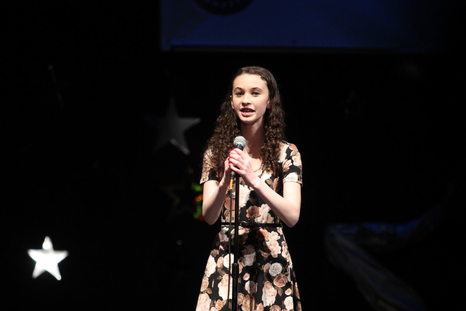 "Sophomore Alissa Jarvis sang ""Off My Mind"" at Stars of Tomorrow. Jarvis won first place in the senior division (grades 10-12) and is to perform this summer at the Jefferson County Fair. Photo by Allison Arthur"