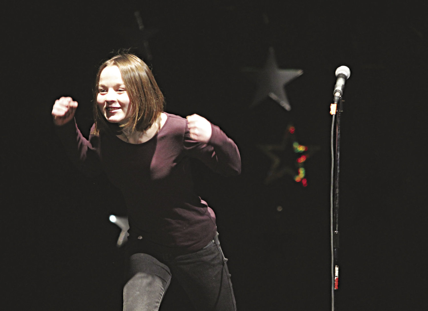 "Eighth-grader Emillia Nunn impressed the Stars of Tomorrow judges with her stand-up comedy routine that poked fun at what it's like to be a teenager in Port Townsend with ""nothing to do."" Nunn took first place at the annual Port Townsend Kiwanis Club talent show Sunday, Feb. 19 at the Port Townsend High School auditorium. She's set to perform at the Uptown Street Fair and the Jefferson County Fair. Read a review of the talent show and see more photos on page B1 as well as on ptleader.com. Photo by Allison Arthur"