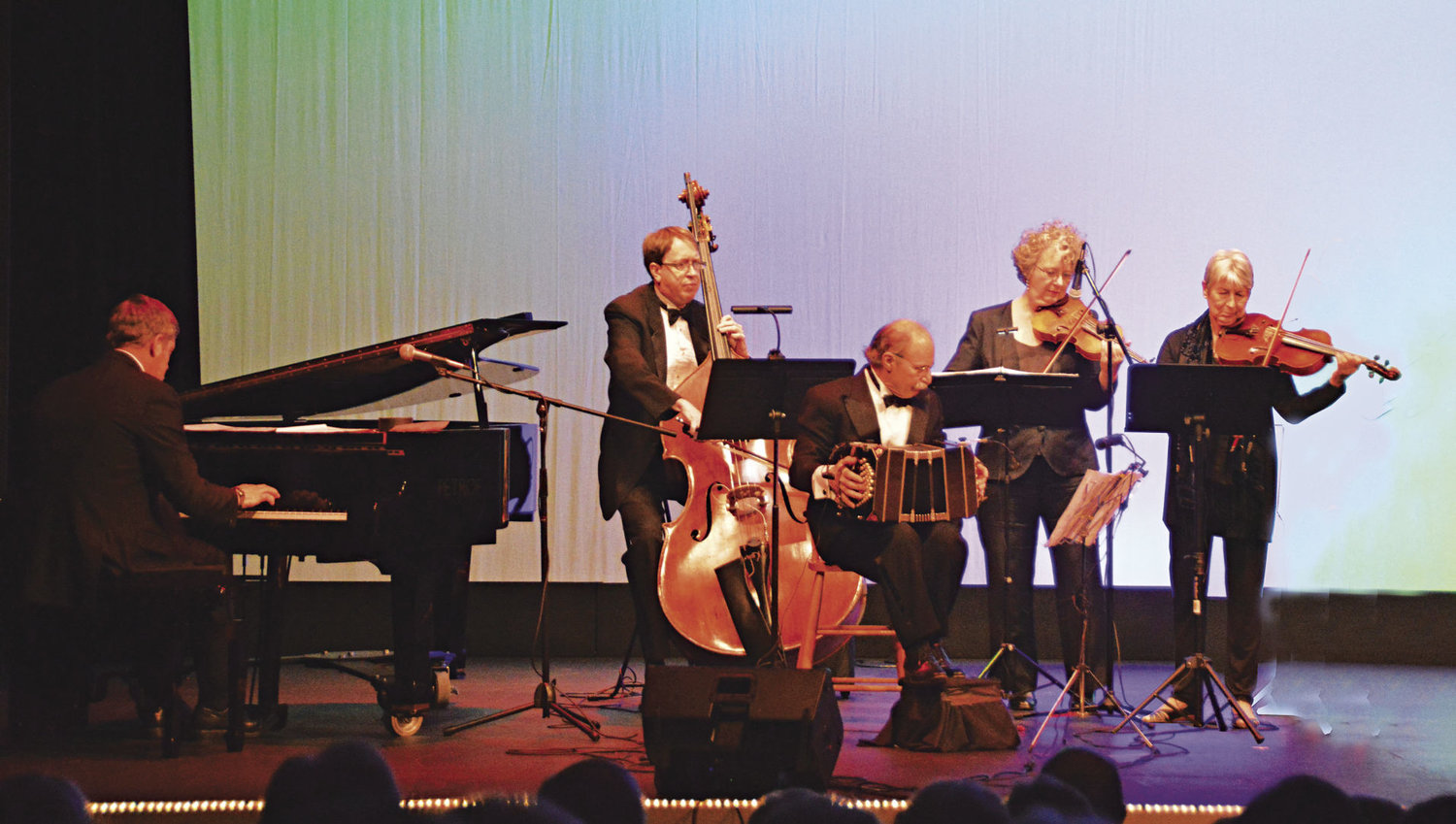Tangoheart Quintet gives its third performance at The Rose Theatre on Saturday, Jan. 14. Pictured (from left) is Andy Carr (piano), Todd Gowers (bass), Bertram Levy (bandoneon), Ruthie Dornfeld (violin) and Dorothy Shapiro (viola). Courtesy photo