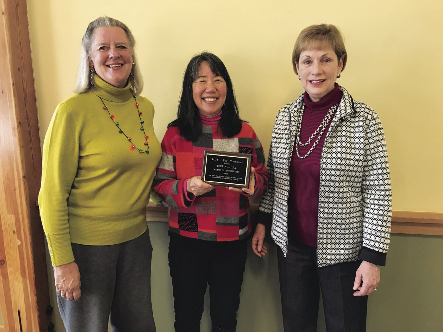 Teri Nomura (center), received the AAUW PT's Woman of Excellence award, with AAUW PT copresidents Jean Stastny (left) and Lynn Meyer. Courtesy photo