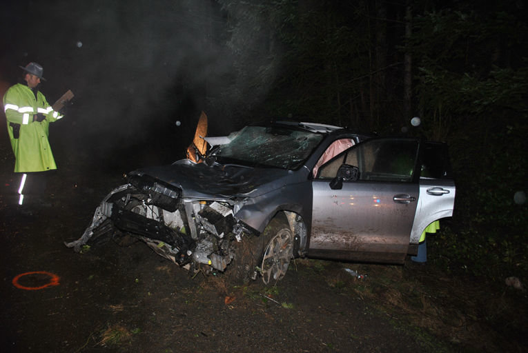 The driver died at the scene when the 2016 Subaru he was operating crossed the centerline and hit several trees on the evening of Dec. 3 on State Route 104 in Jefferson County. The wreck occurred at about milepost 5.4, between Sandy Shore Road and the Center Road overpass. Photo courtesy Washington State Patrol
