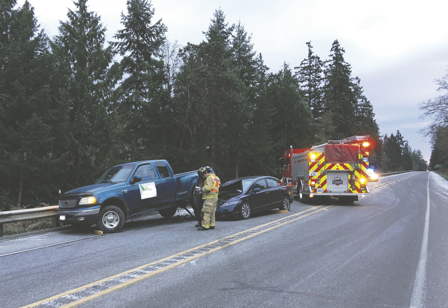 This Ford pickup was outbound from Port Townsend when it was caught in the middle of a chain-reaction, rear-end accident at about 7:55 a.m., Saturday, Dec. 17. No one in either vehicle was injured. Photo by Bill Beezley, East Jefferson Fire Rescue