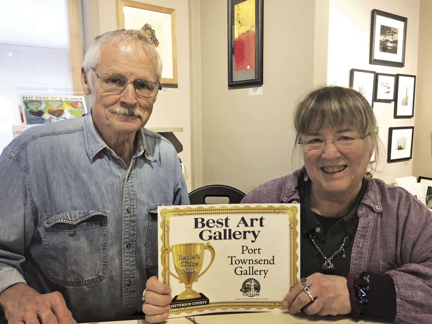 David Haakenson and Caroline Littlefield at Port Townsend Gallery appreciate the customer appreciation.
