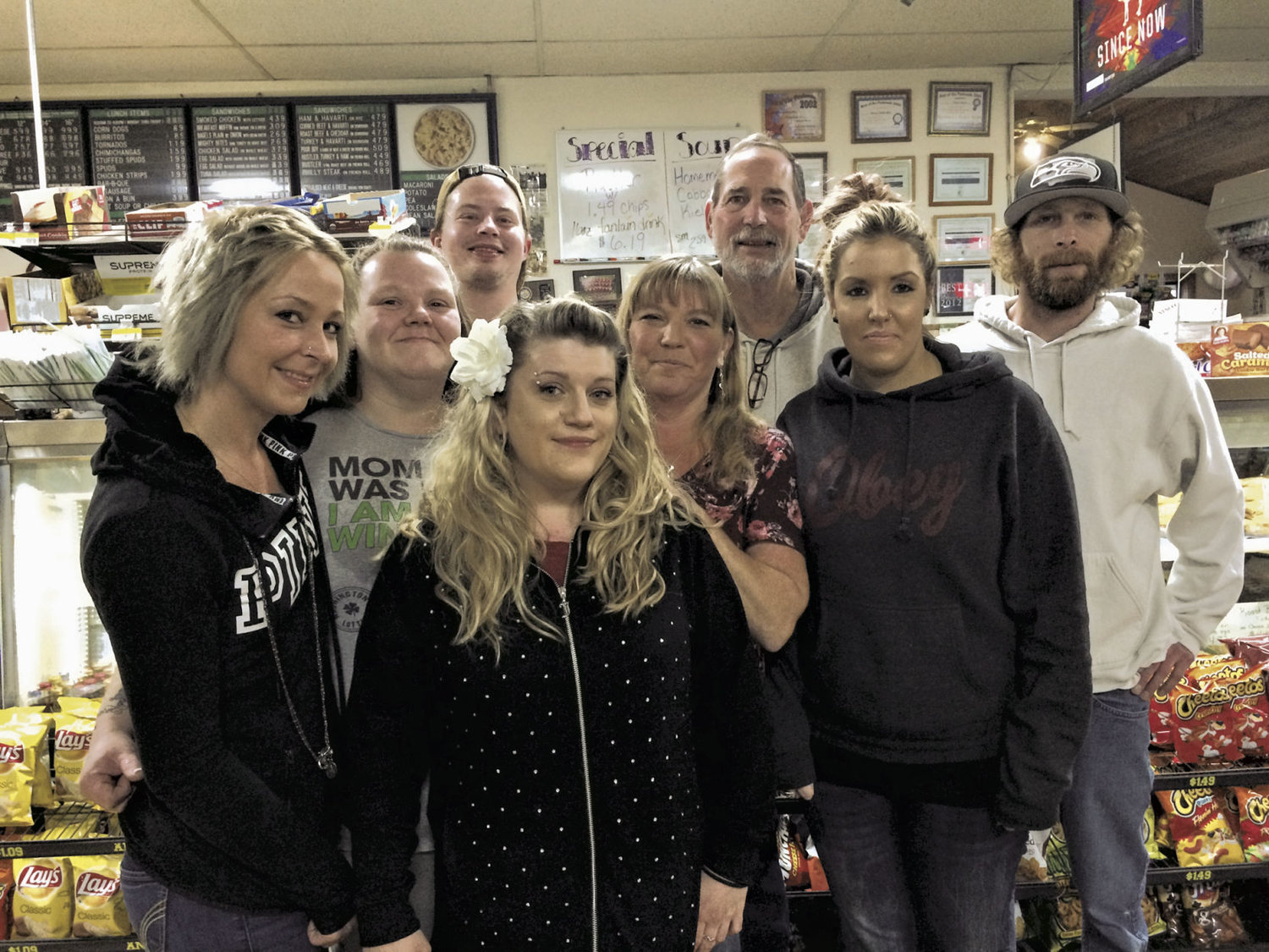 Penny Saver Mart is a family-owned business in Port Townsend, and its staff thanks the Reader's Choice participants who rated it as the favorite convenience store. The staff (not all pictured) includes Cindy Ramey, Roger Ramey, Scott Ramey, Jess Glaze, Amy Scott, Mel Fossum, Brittany Boucher, Mary Rodriquez and Chad Giakas.