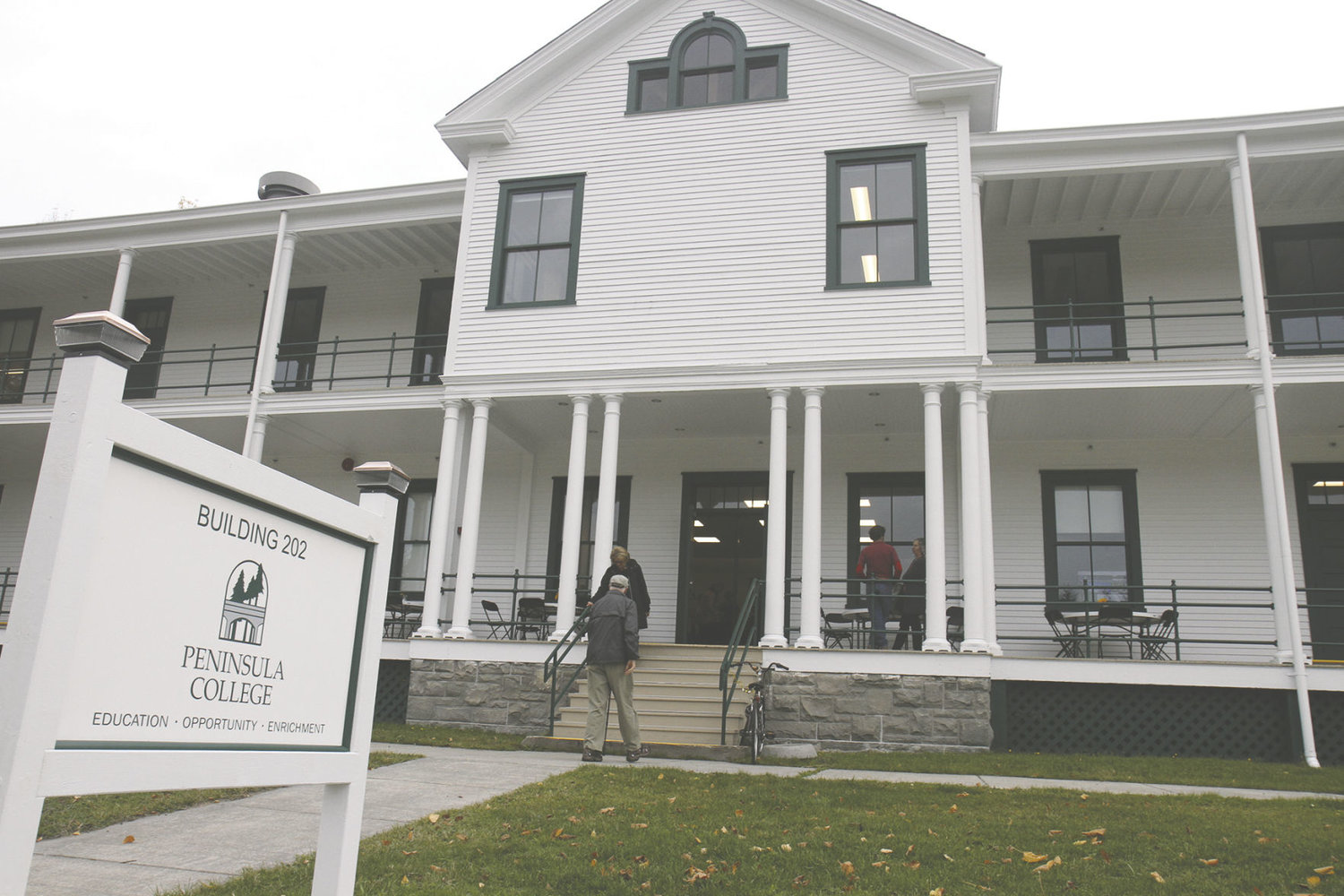 Built in 1904 as a barracks for U.S. Army Coast Artillery soldiers, Fort Worden's Building 202 is now a modernized center for higher education. Peninsula College classes began in the remodeled 14,000 square foot building in September. Photo by Patrick Sullivan