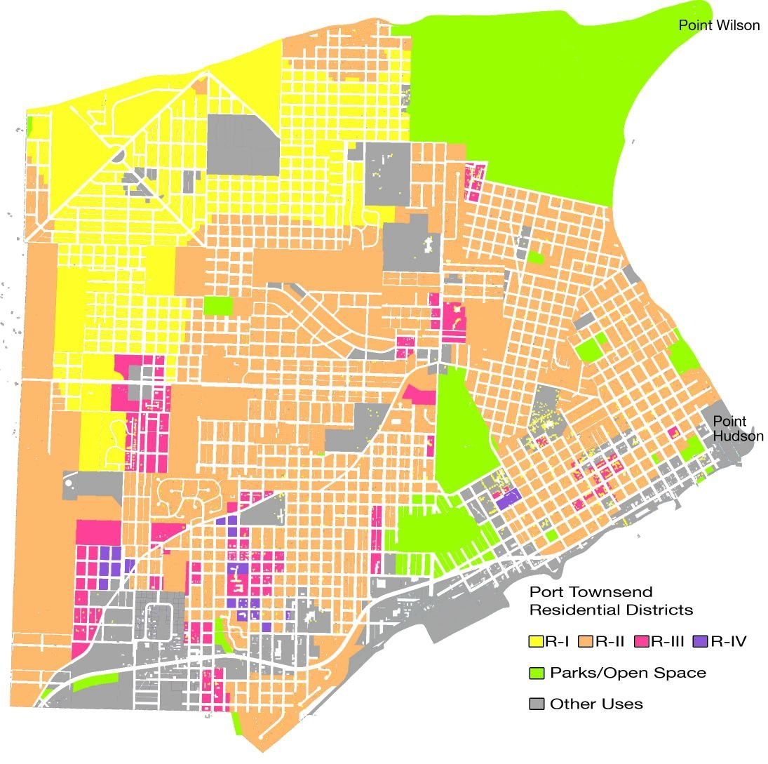 This map shows residential zoning in the city of Port Townsend. The yellow areas are zoned R-I, low-density single-family housing, allowing as many as four domestic units (homes) per acre, with a 10,000-square-foot minimum lot size. Orange areas are are zoned R-II, allowing medium-density single-family (as many as eight homes per acre, 5,000-square-foot minimum lot size). Red areas are zoned R-III, medium-density multifamily (10-16 units per 40,000 square feet of land), and the purple areas, zoned R-IV, are for high-density multifamily housing (15-24 units per 40,000 square feet).The green areas are parks or open space, and gray areas are zoned for other uses, including commercial. Map courtesy City of Port Townsend; graphics by Marian Roh