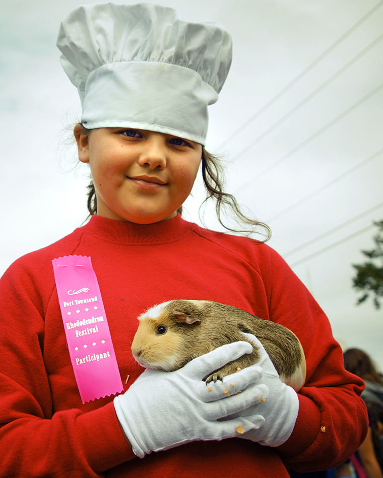 Keira Hoex, 10, walked in the Pet Parade with her guinea pig, Honey. Photo by Nicholas Johnson