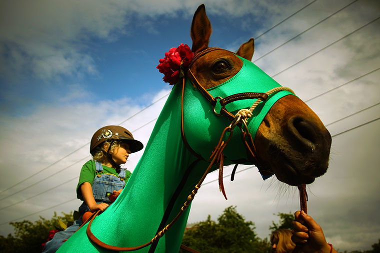 Lachlan MacKay, 3, is dressed as a farmer as he rides 30-year-old Kiyah, a rescued quarter horse dressed as a John Deere tractor, during the Rhody Pet Parade on May 19. Photo by Nicholas Johnson