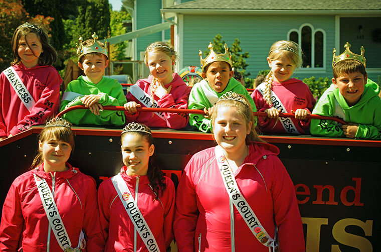 Rhody Fest Junior Royalty aboard the George Earl Memorial Kiwanis Choo Choo are (back, from left) Miranda Baker, John Neville, Lorelei Turner, Te Amo Lanphear-Ramirez, Lily Justis and Tim Manly, Jr. Queen's Court members for 2016 (front row) are Jenessah Seebergoss, Te Amo Lanphear-Ramirez and Marissa Kieffer. Photo by Nicholas Johnson