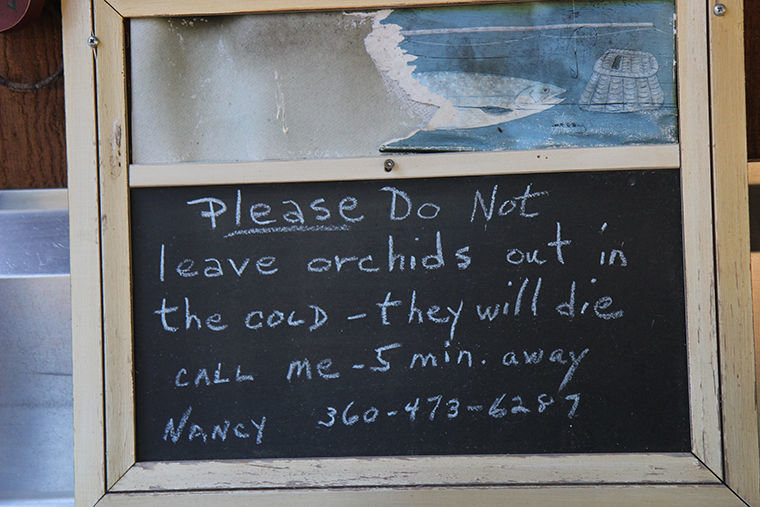 A note at an orchid drop-off station at RainCoast Farms requests that orchid donors call first, rather than leave an orchid out in the cold.