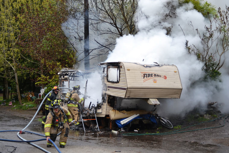 A recreational trailer in Port Hadlock was destroyed by explosion and fire late Thursday morning, April 14. The uninjured occupant is now homeless, and all of his possessions have also been destroyed, according to East Jefferson Fire Rescue. Courtesy photo by Bill Beezley, EJFR