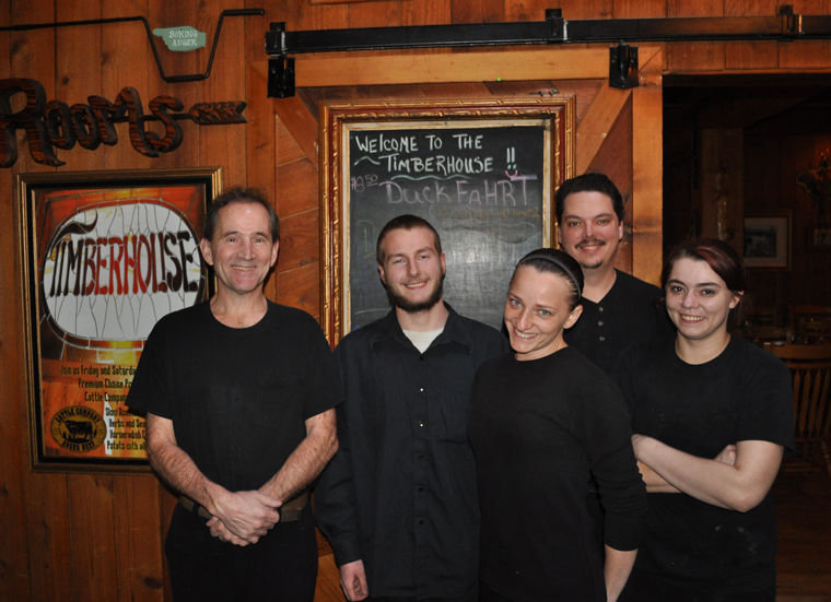 Chef Steve Serbousek, far left, of Quilcene's Timberhouse Restaurant stands with employees (from left) Josh Ulvila, Asha Weeden, Nick Fields, and Nyoka Clarkson. Leader readers voted this restaurant the best of Quilcene, Brinnon or Port Ludlow. Photo by Viviann Kuehl