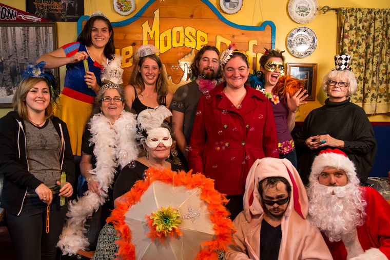 "Blue Moose Cafe employees (top row, from left) Genesis ""Gigi"" Regueira, Cleare Shields, Morgan Osmer, Eileene Skidmore, Nana Metcalf, (middle row, from left) Makaela Landis, manager Terolyn Marshall, Molly Riverstone, (bottom row, from left) Tana Kettle, Mr. Sunshine and Nathan Metcalf gather inside the boatyard breakfast joint. Submitted photo"