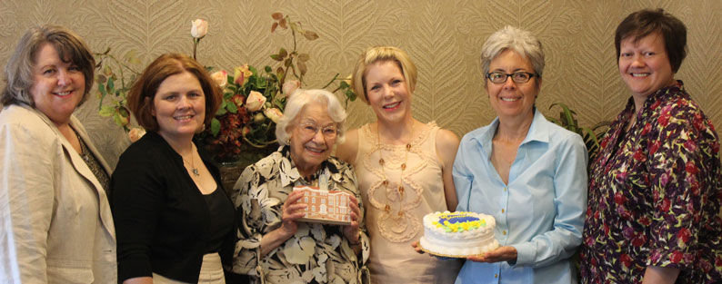 Graduates of Saint Mary's Academy in Leavenworth, Kansas came to Port Townsend Aug. 9 to celebrate with Barbara Clayton, class of 1935. Pictured are (from left) Karen McIver, Olivia Robinson, Clayton, Amy Maggio, Laura Jaurequi and Jane Liebert. Photo by John Boone