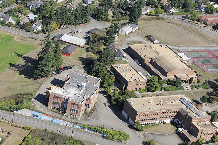 Port Townsend High School's campus is seen from the air in this September 2014 photo. Photo by Patrick J. Sullivan, flight by Tailspin Tommy's