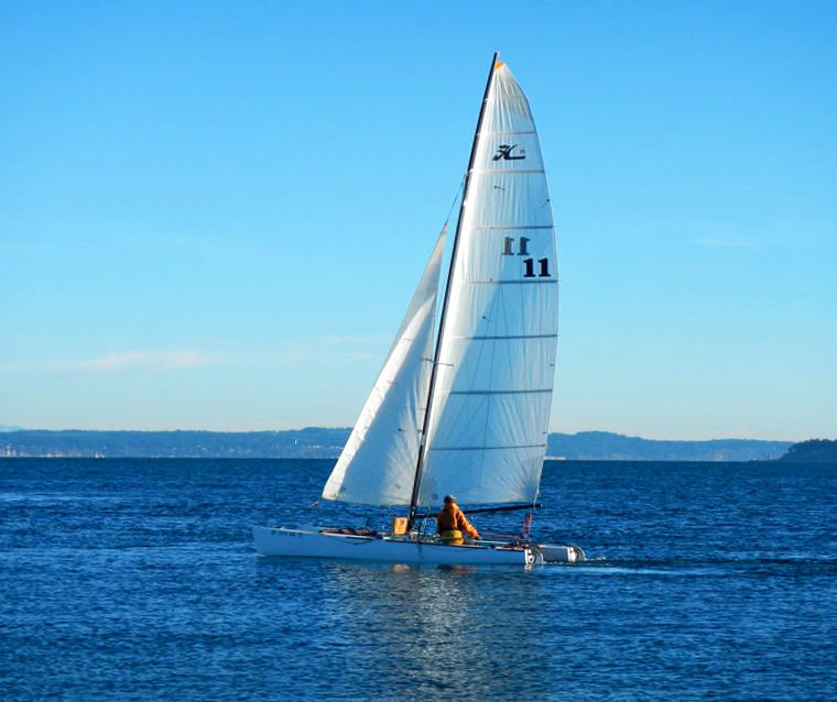 Piper Dunlap and Norton Smith, aka Team Hexagram 59, are racing Ketchikat, a Hobie 20, from PT to Ketchikan, Alaska, in the Northwest Maritime Center–sponsored Race to Alaska, beginning June 4. Submitted photo