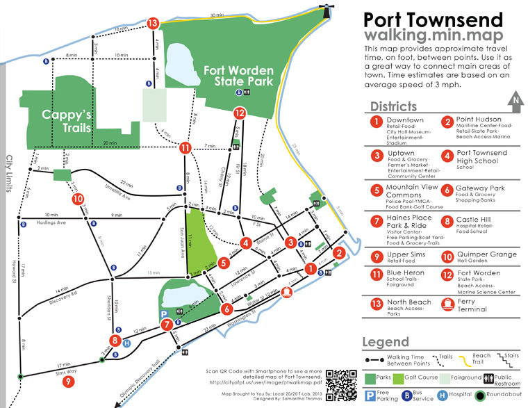 Port Townsend Walking Map: Shows where to go, how long it takes to on