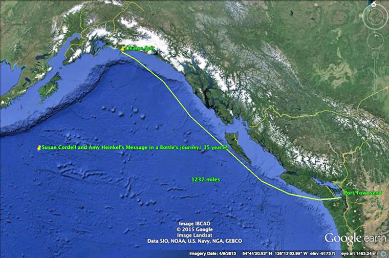 The wine bottle Susan Cordell and Amy Heinkel tossed into the ocean some 40 years ago had to travel at least 1,237 miles to reach a point east of Cordova along the Gulf of Alaska, according to this Google map prepared by friends of the bottle's finder.