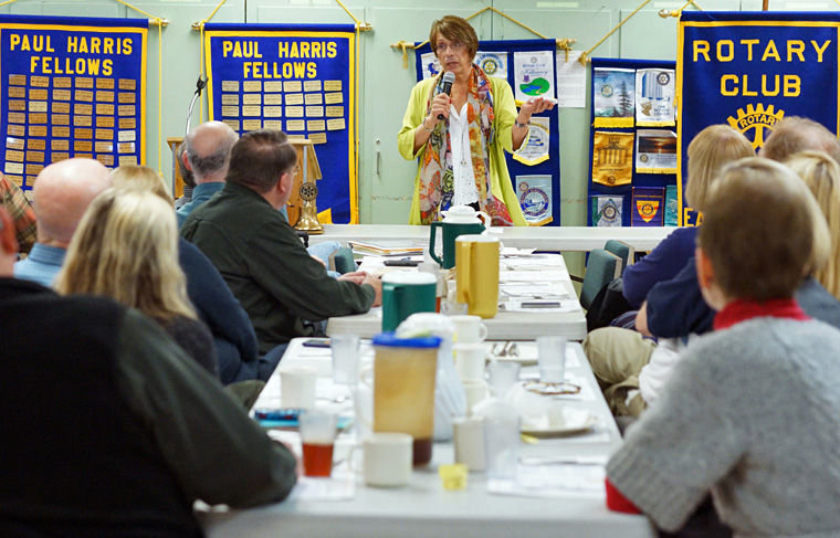 Emelia De Souza tells her story in front of about 30 fellow members of Rotary Club of East Jefferson County on Feb. 12 at the Tri-Area Community Center in Chimacum. Photo by Nicholas Johnson