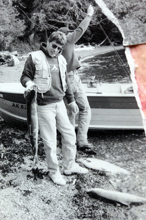 This 2003 photo shows Emelia De Souza holding a salmon while fishing with her wife's brother in Ketchikan, Alaska. Submitted photo