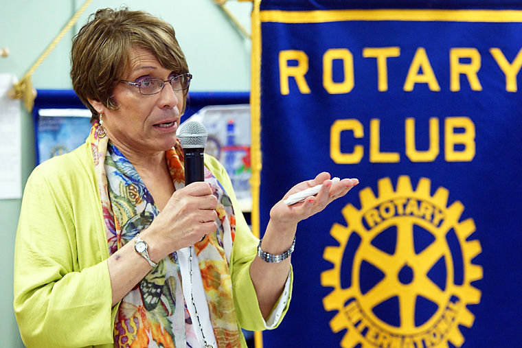 Emelia De Souza tears up while telling her story in front of about 30 fellow members pf Rotary Club of East Jefferson County on Feb. 12 at the Tri-Area Community Center in Chimacum. Photo by Nicholas Johnson