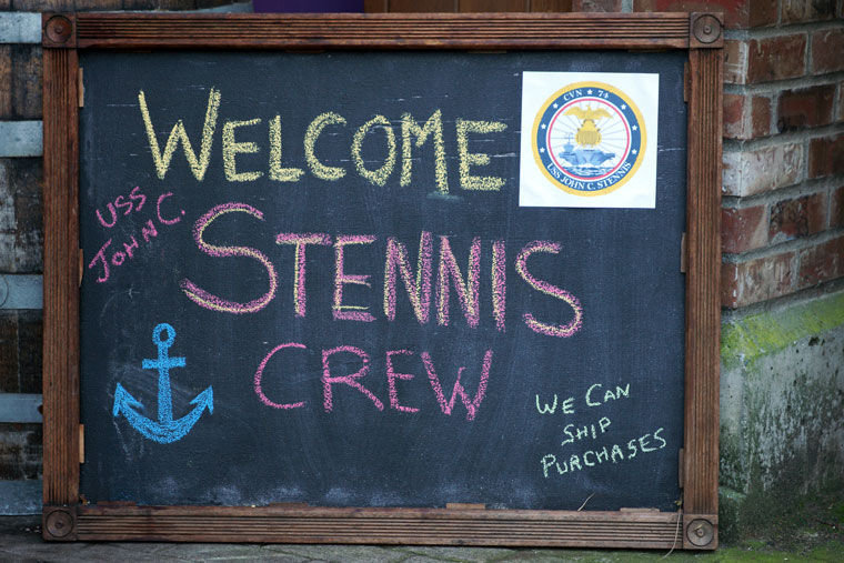 A chalkboard sign outside Flagship Landing along Water Street in downtown Port Townsend welcomes sailors who are in visiting town during evenings this week. Photo by Nicholas Johnson