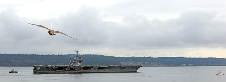 The nuclear-powered supercarrier John C. Stennis (CV-74) arrived in Port Townsend at 1 p.m. Monday to pay a rare visit at Naval Magazine Indian Island on Port Townsend Bay. Photo by Nicholas Johnson